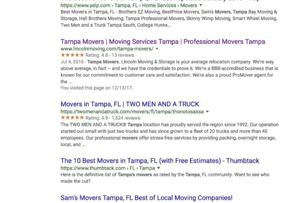 Google movers tampa
