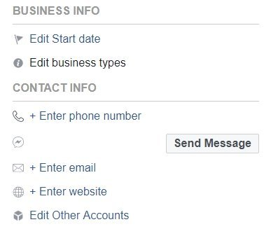 Facebook Business Info